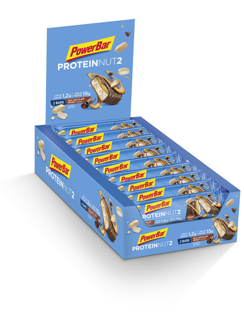 PowerBar Protein Nut 2 Bar Box 18x2x22,5g, Milk Chocolate Peanut